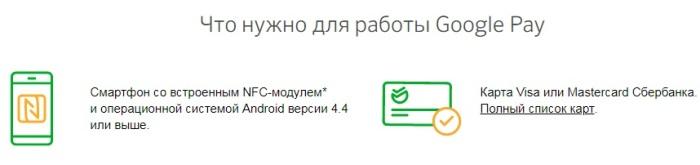 Что нужно для работы Google Pay
