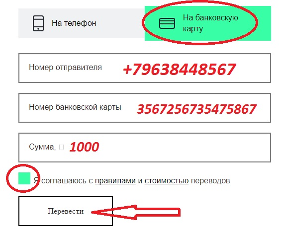 Перевод через онлайн-сервис