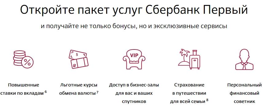 Особенности пакету услуг Сбербанк Первый